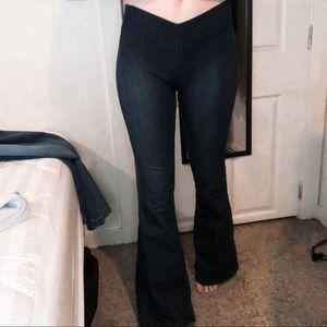 Free People Dark Wash Denim Flare Jeans